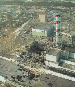 Chernobyl nuclear reactor after explosion