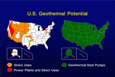 This picture shows U.S. geothermal potential.